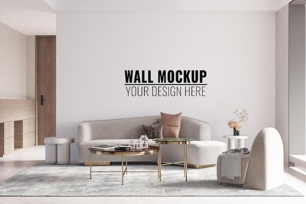 Rendering 3d di mockup 3d della parete del salone interno