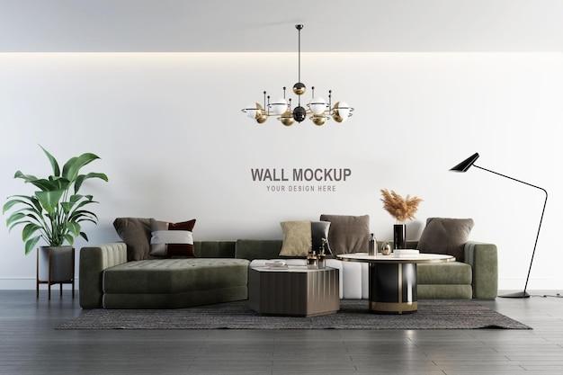 Progettazione di mockup della parete del soggiorno interno in rendering 3d