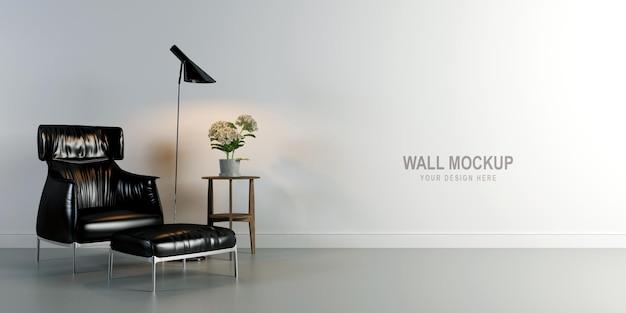 Progettazione di mockup della parete del soggiorno interno nella rappresentazione 3d