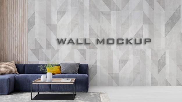 Mockup della parete del soggiorno interno psd premium