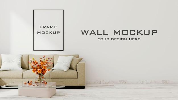 Mockup di parete del soggiorno interno con mockup di cornice psd premium