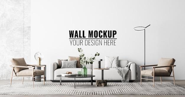 Mockup della parete del soggiorno interno