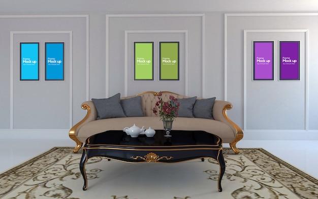 Salone di lusso interno con divano rosso e cornici mockup