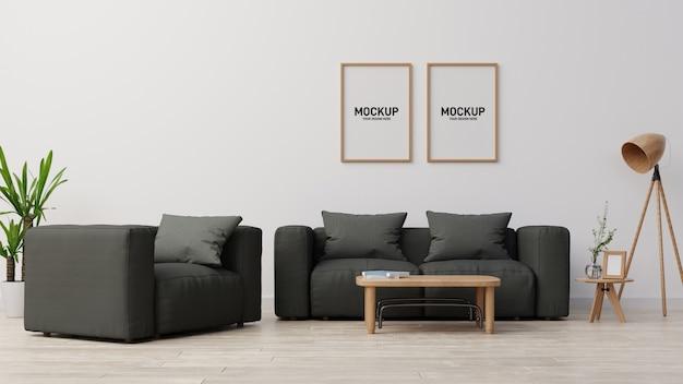 Interno finto soggiorno. rendering 3d.