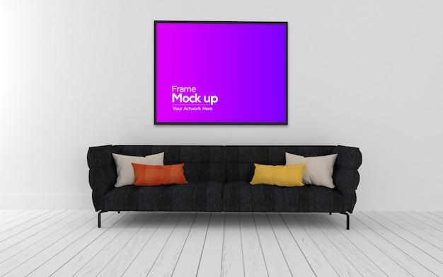 Interno moderno soggiorno con divano nero e cornice mockup
