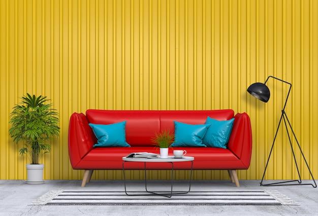 Soggiorno moderno interno con parete in lamiera
