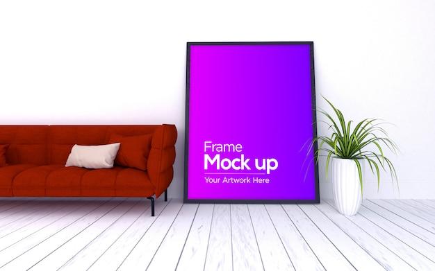 Interno moderno soggiorno con divano rosso e mockup di grande cornice