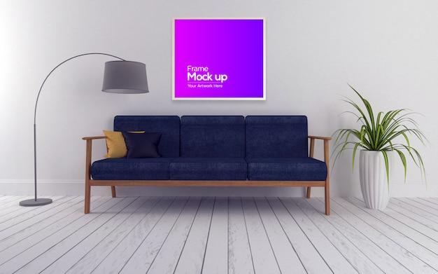 Interno moderno soggiorno con divano e cornice mockup