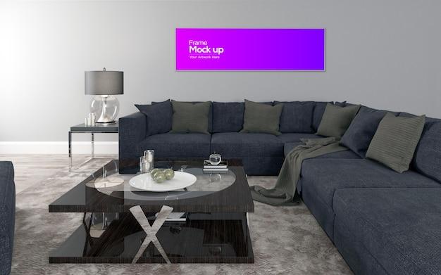 Interno moderno soggiorno con divano e tavolo mockup