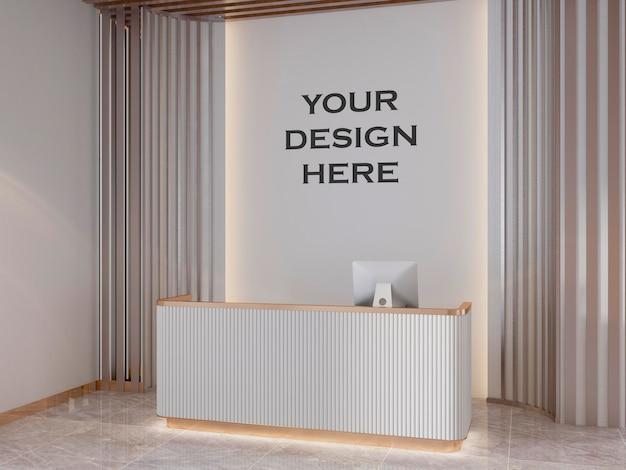 Mockup della parete della sala riunioni dell'ufficio moderno interno