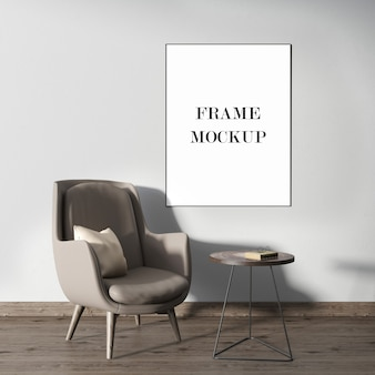 Mockup di cornice per interni in rendering 3d
