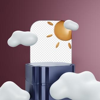 Podio interno o palco con sole e nuvole realistici