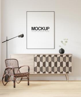 Mockup di cornice per poster interni con decorazione di mobili moderni 3d illustrazione 3d render