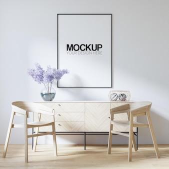 Mockup di cornice per poster interni con decorazione di mobili moderni