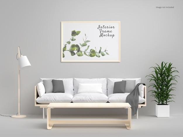Mockup di telaio orizzontale per poster interni