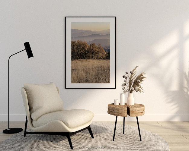 Poster per interni mock up con cornice in legno orizzontale