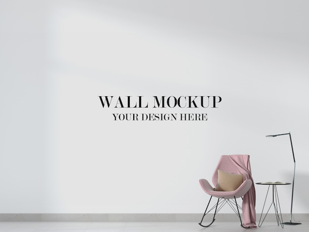 Mockup di parete interna con sedia a dondolo rosa
