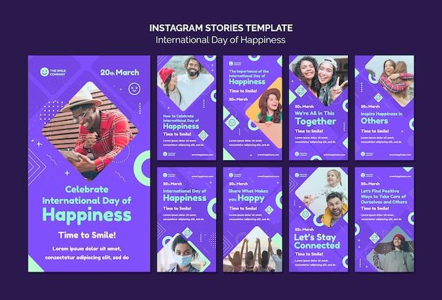Storie di instagram della giornata internazionale della felicità