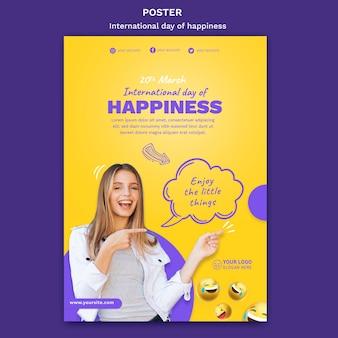Modello di poster giornata internazionale della felicità