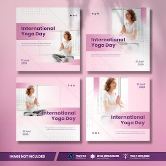 Collezione di banner social media per la giornata internazionale dello yoga
