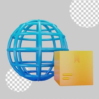 Illustrazione 3d del concetto di consegna internazionale