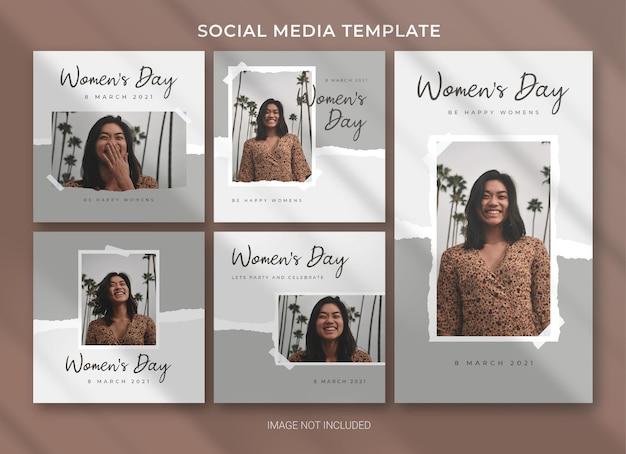 Design del modello di bundle del pacchetto di social media per la giornata internazionale della donna