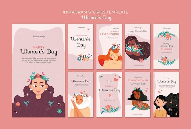 Modello di storie sui social media per la giornata internazionale della donna