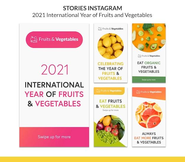 Anno internazionale del modello di storie instagram di frutta e verdura
