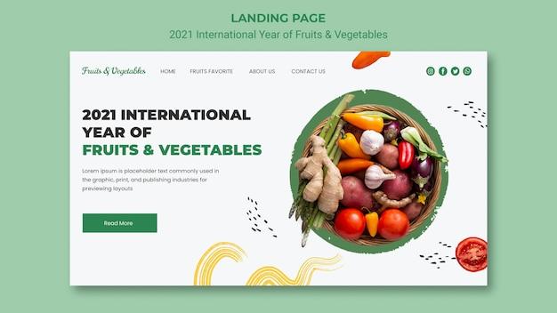 Modello di pagina di destinazione per l'anno internazionale di frutta e verdura