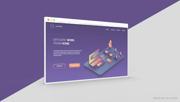 Mockup 3d della finestra del browser internet isolato