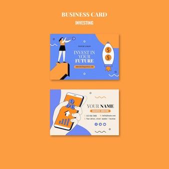 Modello di biglietto da visita di investimento illustrato