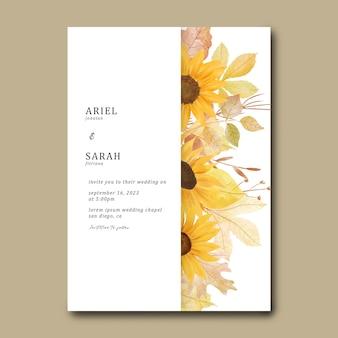 Modello di invito con girasoli ad acquerello e foglie autunnali