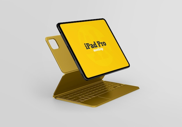 Mockup di ipad pro con tastiera