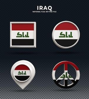 Bandiera irachena 3d rendering pulsante a cupola e su base lucida