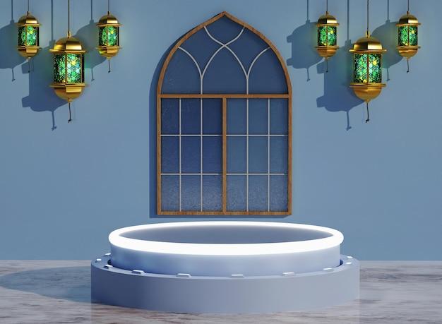 Finestre del podio 3d islamiche e lanterna araba sullo sfondo e colore modificabile
