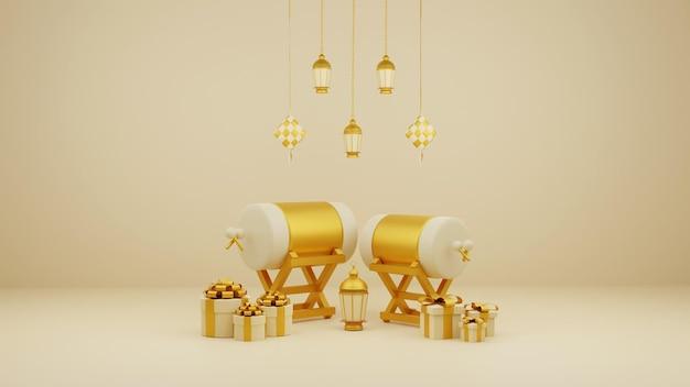 Composizione-decorazione-display-islamica-con-confezioni-regalo-tradizionale-di-tamburo-bedug-3d-e-lanterne-arabe