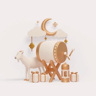 Decorazione espositiva islamica con scatola regalo a mezzaluna con lanterna bedug e illustrazione di capra