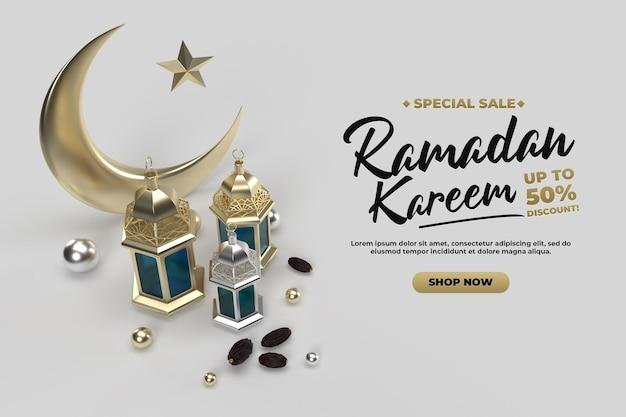 Saluti di celebrazione del ramadan islamico oro 3d rendono il modello