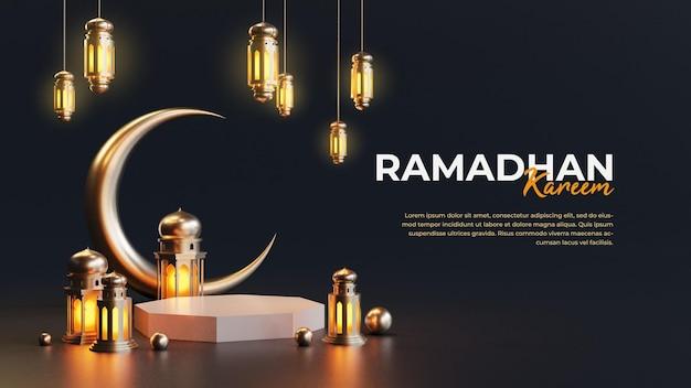 Modello di biglietto di auguri islamico ramadan con falce di luna 3d e lanterna araba
