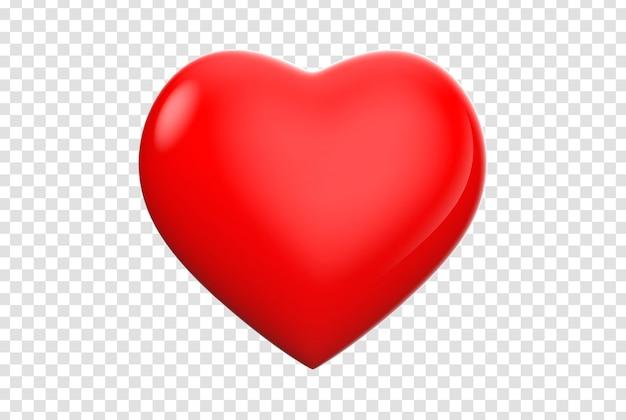 Vista frontale dell'icona del cuore 3d isolata