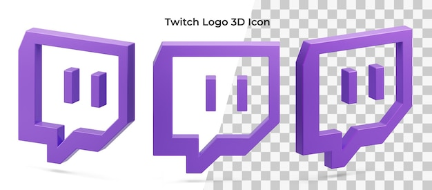 Isolato asset icona 3d di tre logo twitch fluttuante