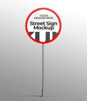 Mockup 3d isolato di segnale stradale per pubblicità o branding
