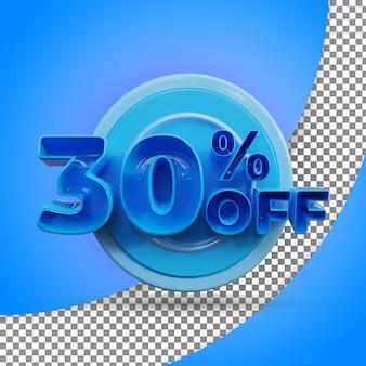 Rendering 3d isolato 30 percento rendering 3d realistico prodotto offerto