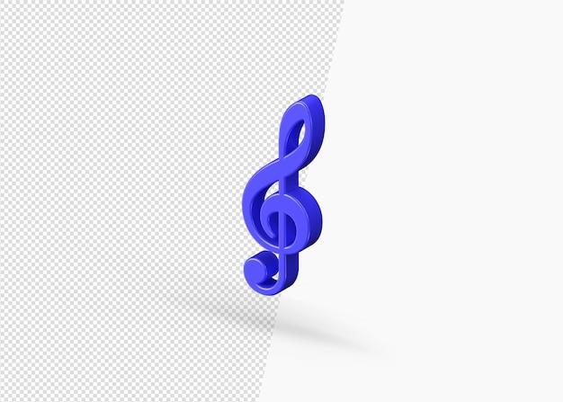 Isolato 3d rendering icona della nota musicale