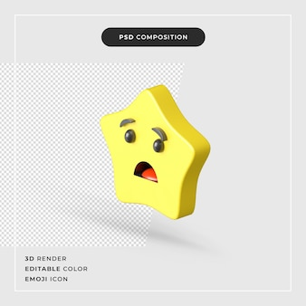 Icona di emoji stella 3d isolata