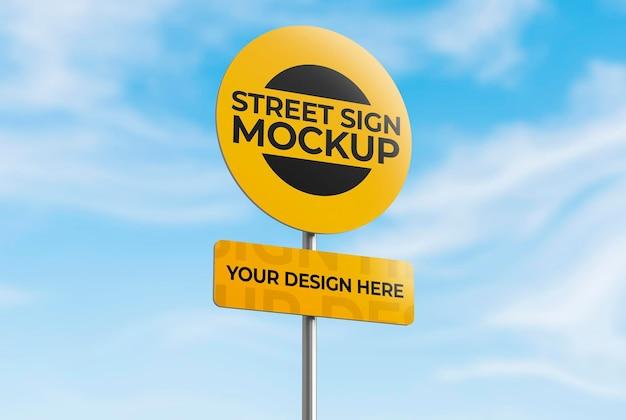 Modello di segnale stradale 3d isolato per pubblicità o branding