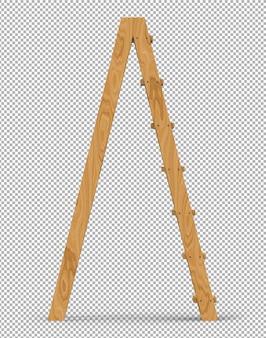 Le scale di legno isolate 3d rendono su trasparente