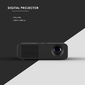Proiettore digitale nero isolato dalla vista frontale