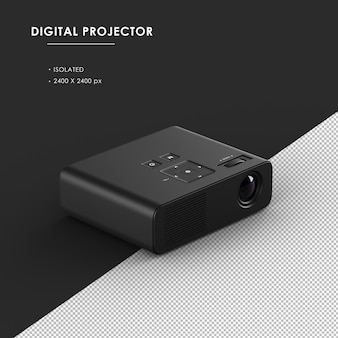 Proiettore digitale nero isolato dalla vista frontale in alto a destra