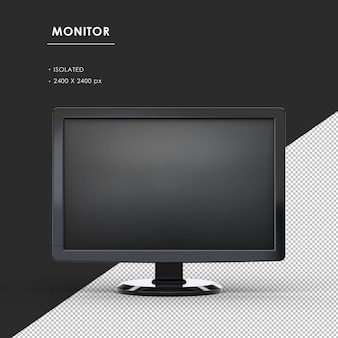 Monitor nero isolato dalla vista frontale